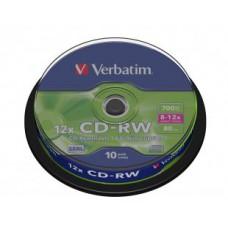 Диск CD-RW80 Verbatim Cake Box (1/10) (43480)